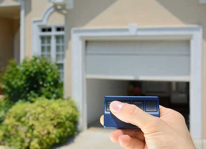 remote entry garage door in the suburbs