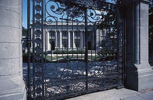 gated pillars and driveway